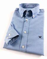 Hackett London Shirt Men's Slim Fit Garment Dye Delave Oxford Sky Blue HM306263