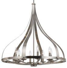 """Brushed Steel Simple Chandelier Pendant Light Unique Onion Shape 28""""W FX-3589-8"""