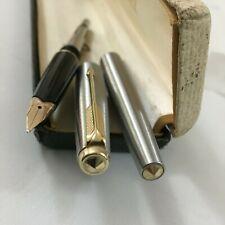Parker 65 Flighter Steel GT Gold jewel 14K Broad nib+Extra conv BOX England Mint