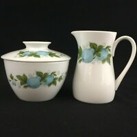 VTG Sugar Bowl and Creamer Noritake Blue Orchard Cookin Serve Fruit 6695 Japan