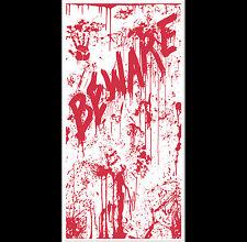 Psycho Dexter Zombie--BEWARE BLOODY DOOR COVER--Halloween Horror Prop Decoration