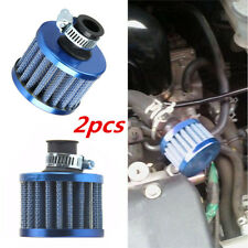 2PCS UNIVERSAL 12MM CRANKCASE VENT INTAKE MINI CONE AIR BREATHER FILTER BLUE NEW
