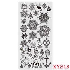 Placas Para Uñas Stamping Placa de imagen árboles de Navidad Copos de nieve renos XYS18