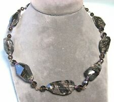 """Silverplate & Rutile Quartz Bead Necklace 19 3/4"""" end to end"""