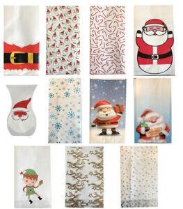 Christmas Cello Bags Cellophane Treat Favour Sweet Stocking Gift Bags Santa