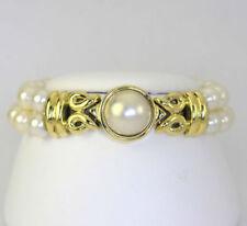 Pulseras de joyería de oro amarillo de 18 quilates perla
