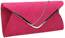 Women Karlie Suede Envelope Leather Ladies Evening Party Prom Smart Clutch Bag
