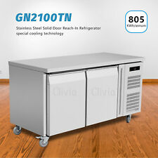 More details for clivia 260l stainless steel double door counter freezer commercial refrigerator