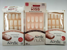 KISS BRAND SALON ACRYLIC FRENCH / NUDE / NATURAL NAILS 3 PACK 28 NAILS EACH