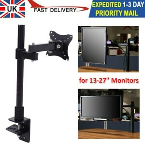 """Fully Adjustable Single Arm Monitor Mount 13-27"""" Desk Stand Bracket with Clamp"""