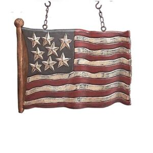 """Carved Americana USA Waving Flag Arrow Replacement Sign Decoration Chains 12.5"""""""