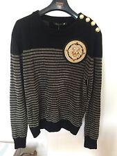 Balmain H&M Sweater Knit L Large Lion Gold Black Green Khaki Olive Brown Jacket