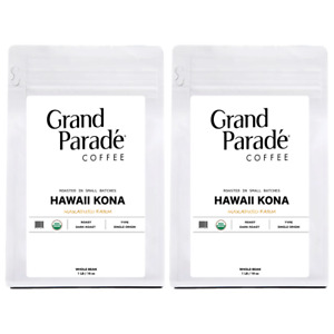 Organic 100% Hawaiian Kona Fresh Dark Roast Whole Coffee Beans, 2 - 1 Lbs Bags