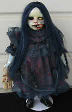 Horror Gothic Scary Ooak Art Doll 'Creepy Little Zombie Girl' & Voodoo Teddy