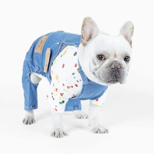 Dog Denim Overalls Puppy Vest Cowboy Dog Clothes Puppy Denim Costume Coat