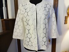 New! Joan Rivers White Lace Open Front Blazer   Size 8