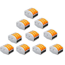 10X Reusable Spring Lever Terminal Block Electric Cable Wire Connector 3Way Pin