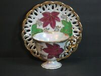 VTG Fan Crest Hand Painted Footed Cup & Saucer Luster Burgundy Green Gold Leaves