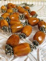 VTG Old Art Deco Butterscotch Amber Bakelite Graduated Necklace Carved