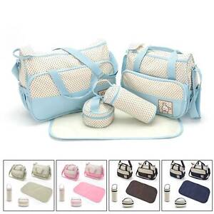 5pcs Baby Changing Bag  Set Diaper Bags Shoulder Handbag Mommy Portable Bag