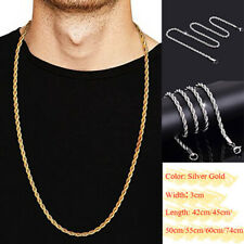 Gold-Color Twist Chain Necklace Stainless Steel Women's Men Rope Chain Necklace