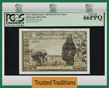 TT PK 102Am WEST AFRICAN STATES IVORY COAST 500 FRANCS PCGS 66 PPQ FINEST KNOWN!