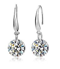 Crystal Drop Earings Sterling Silver Swarovski Girl Women Jewelry Fashion Luxury