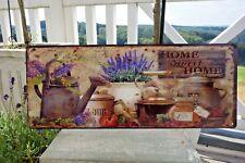 Shabby Blechschild Bild Home Sweet Home Lavendel 20 x 50 cm Retro Antik Stil NEU