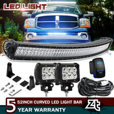 "52"" Curved LED Light Bar Spot Flood Combo w/Brackets Dodge Ram 1500 2500 3500"