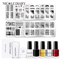 8Pcs/Set NICOLE DIARY Nail Art Stamping Plates Stamp Polish Stamper Kit
