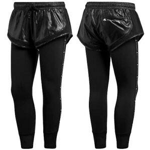 Adidas Stella Mccartney Shiny 3/4 Leggings Women's Sports Trousers 2in1 Running