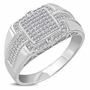 925 Sterling Silver Men's Silver-tone Micro Pave CZ Stone Style Ring Band