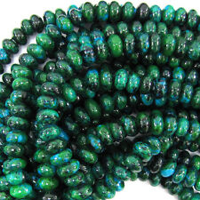 """Natural 5x8mm Blue Green Chrysocolla Rondelle Gemstone Loose Beads 15"""""""