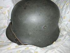 Wwii Named German M40 Helmet, Leather Liner & Chin Strap, Uffz, Riesenberg,