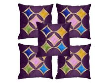 Cherry homes Purple Handcrafted cushion cover, (40cmsx40cms) A pack of 5pcs
