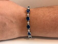 TENNIS BRACELET W/ LAB DIAMONDS & TANZANITE / 925 STERLING SILVER / ELEGANT!!!!