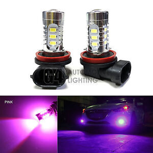 2x H11 H8 LED Fog Light Bulbs 15W SMD 5730 12V High Power Bright DRL Hot Pink