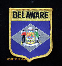 DELAWARE US STATE SHIELD FLAG IRON ON EMBROIDERED FLAG HAT PATCH PATRIOT PIN UP