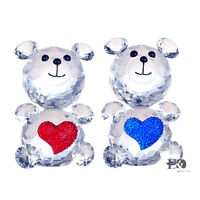 New Charm Clear Crystal Glass Cut Decoration Lovely Heart Two Bears Wedding Gift