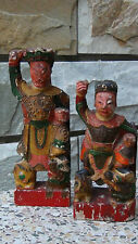 PAIR ANTIQUE 18C CHINESE WOOD HAND CARVED TEMPLE IMMORTALS ON FOO-LIONS STATUES