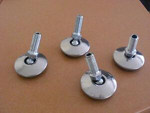 4 x Möbelfüße Edelstahl  M8 Gewinde  Stellteller Metal Möbel fuß