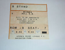 WIDNES v HULL K R GUESSING DATE IS 19th DECEMBER 1990 TICKET