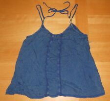 NWOT Intimately Free People Blue Washed Lace Trim BOHO FLOWY Tank Top Cami S