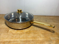 """Command Performance Gold 18/10 Stainless Steel 11"""" Saute/Sauce Pan w/ Lid"""