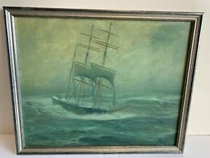 PAINTING BY MAINE ARTIST FRANK HANDLEN SEASCAPE YANKEE CLIPPER ON THE HIGH S