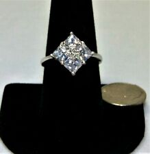 Beautiful Cubic Zirconia Ring with 4 Large Stones Set in a Rhombus Pattern Sz 9