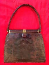 Vintage Lucille De Paris Genuine LIZARD designer evening handbag purse in brown