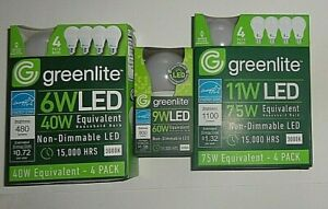 Greenlite Non-Dimmable LED Light Bulbs Warm Light 3000K Pick Equiv. & # of Bulbs
