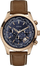 Guess U0500G1 Men's Rose Gold Tone Honey Brown Leather Band Chronograph Watch