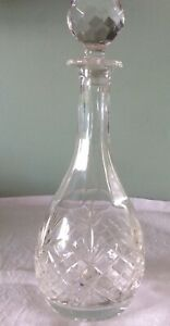Lovely Vintage Heavy  Hand Cut Lead Crystal Glass Decanter - Vgc